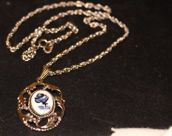 Beautiful Cobalt Blue Rose on Porcelian Necklace Silvertone Chain marked