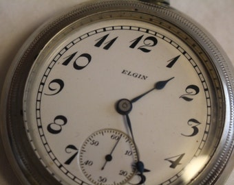 Antique Elgin Pocket Watch Mfg 1899 Silverode Case 7 Jewel - RUNS !