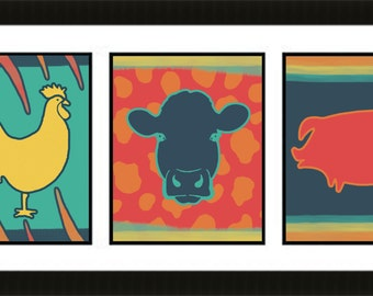 The Colorful Farm Collection  - Set of 3 8x10 Art Prints