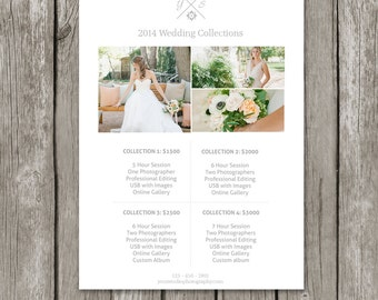 Photographer Price List Template - Photography Pricing Sheet for Wedding Sessions - Wedding Collections Guide - PG02