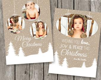 Christmas Card Template - Christmas Photo Card for Photographers - Kraft Xmas Card - CC19