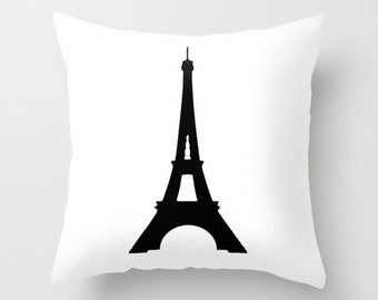 Eiffel Tower Pillow, Paris Bedroom Decor, Velvet Pillow Cover, Paris Pillow, Black and White Cushion Cover, Gifts for Women, Gifts for Her