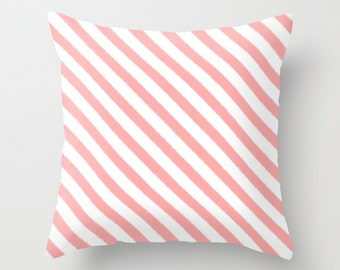 Pink Pillow, Girls Bedroom Decor, Ikat, Pink Stripe Pillow, Velvet Cushion, Teen Girl Room Decor, Girls Bedding, Dorm, Pink Cushion Cover