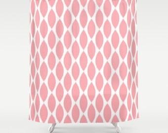 Pink Shower Curtain, Girls Bathroom Decor, Tween Girls, Girls Shower Curtain, Teen Girl Room Decor, Pink Bathroom, Ikat, Teen Girl Gifts