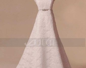 Halter Neckline Lace Wedding Gown Available in Plus Sizes W790