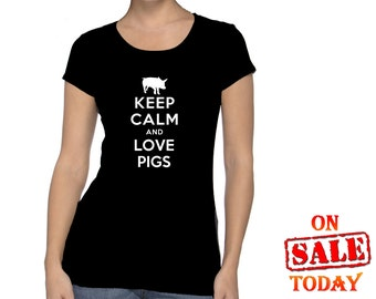 Keep Calm and LOVE PIGS T-Shirt - your choice of 6 different colors for shirt and 12 different colors of logo = 72 color combinations