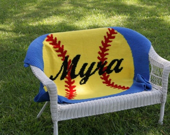 Crocheted Baseball/Softball Blanket