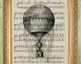 Sheet Music Print Hot Air Balloon Art Print Hot Air Balloon 2 Dictionary Art Print