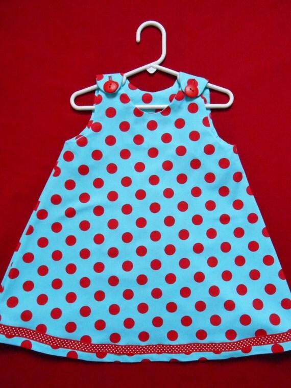 Infant/Toddler Aqua/Red Polka Dot Dress - Sizes 6-9 month to 4T