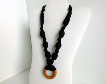 Black Beaded Nursing Necklace, Fabric Necklace, Statement Necklace, Teething Necklace with Wooden/Teething Ring - Black