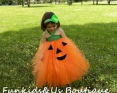 Halloween Pumpkin Orange & Black Tutu Dress-Flower Headband-Jack o Lantern- Newborn to Teen Costume