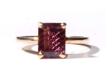 Emerald Cut Garnet Ring (1496)