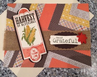 Thanksgiving, thank you, Harvest Blessing, made in Alaska, stampin up, handmade, autumn card