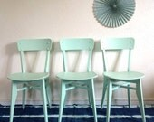 Bistro chair 50s, mid century modern, hand-painted, green color, model Zéline
