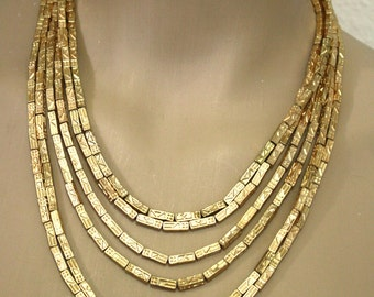 Statement Manai matte gold tone  strands  necklace New Exclusive