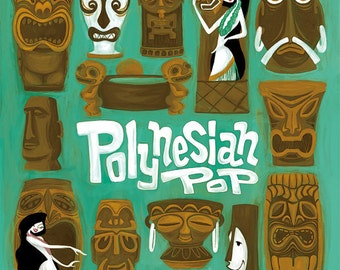 Polynesian pop, Tiki Mug Poster,Hawaiian, Mid Century Modern Art Print Poster Vintage Retro Style.A3size