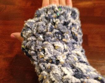 Handmade fingerless gloves.  Special: sparkle yarn!