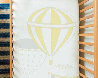 Baby bedding set in 100% sateen organic cotton - Hot Air Balloons (4 pieces)