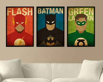 Superheroes Flash, Batman and Green Lantern - Set of 3 Posters