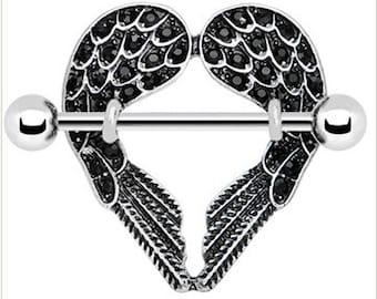 Gem angel wings nipple rings nipple rings 14 gauge g 14g for Angel wings nipple piercing jewelry