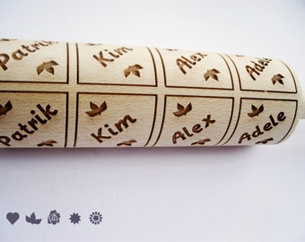 Summer End Sale Personalized Rolling Pin with NAMES and symbol. Up to 16 Names/ Words on a Rolling Pin. Lazer engraved for embossed cookies