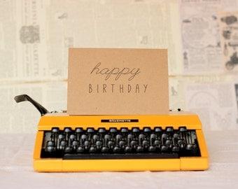 Happy Birthday Card with a Handwritten Look : LBC Brown Kraft Paper