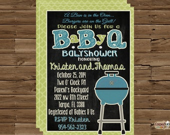 Baby Q Babyshower Invitation, Barbeque Babyshower, Chalkboard Invitation, boy babyshower invitation