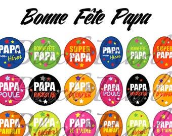 Bonne Fête Papa ll - Page of digital images for cabochons - 60 images