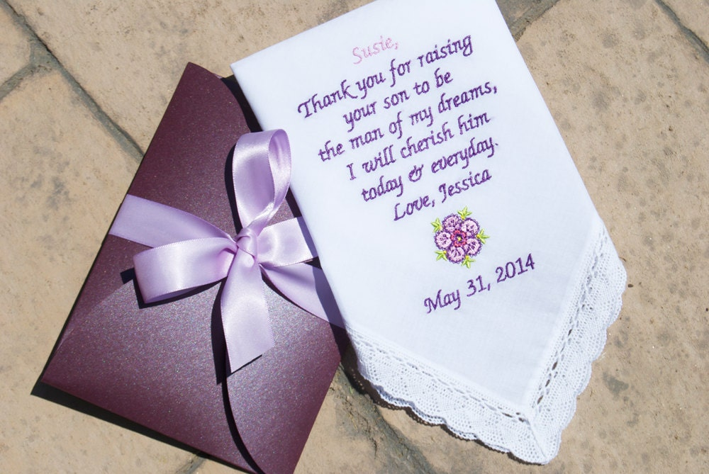 Embroidered Wedding Handkerchief For Mother Of The Groom FREE
