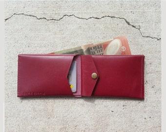 Classic men leather wallet, handmade, red, handmade, brown