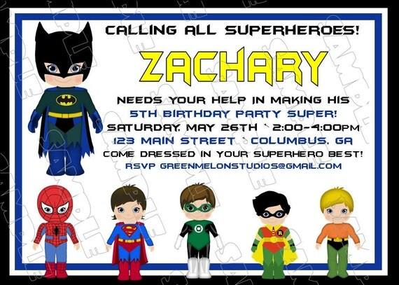 Batman Superhero Inspired Birthday Party Printable Invitations UPrint Customized Card By Greenmelonstudios