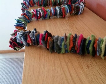 100% Felted Wool garland. 10' long. Multi colors , Free shipping!