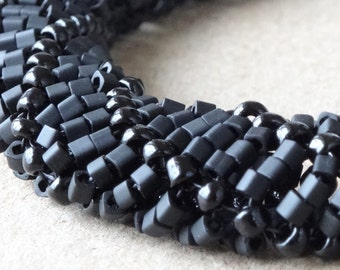 Black seed bead woven bracelet