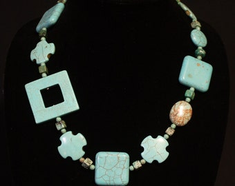 Squares and Crosses Turquoise necklace