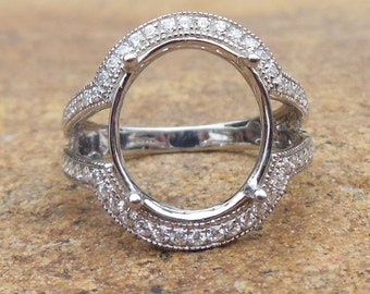Free Shipping 14K White Gold Oval 12x14MM Fashion Semi Mount Ring / Diamond Ring