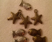 Sea Life Mix of Antique Bronze and Silver Charms! 8 Total!