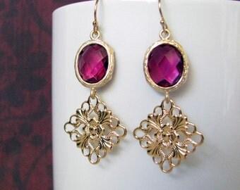 Fuschia Crystal Dangle Earrings Gold Filigree Drop Earrings Modern Elegant Design 14kt Gold Filled Earwires