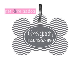 Personalized Pet Tag, Dog Tag, ID Tag, Grey Chevron Pet Tag With Name And Phone Number, Identification Tag