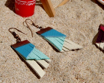 Earrings leather fringed / gradient