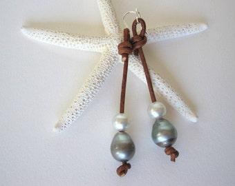 Tahitian Pearl Earrings, South Sea Pearl Earrings, Leather Pearl Earrings, Pearl Drop Earrings,Leather Dangle Earrings,Pearl Leather Jewelry