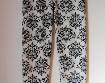 Black and white polyester/spandex leggings - Womens wear - Yoga pants - Gifts for her - Handmade leggings