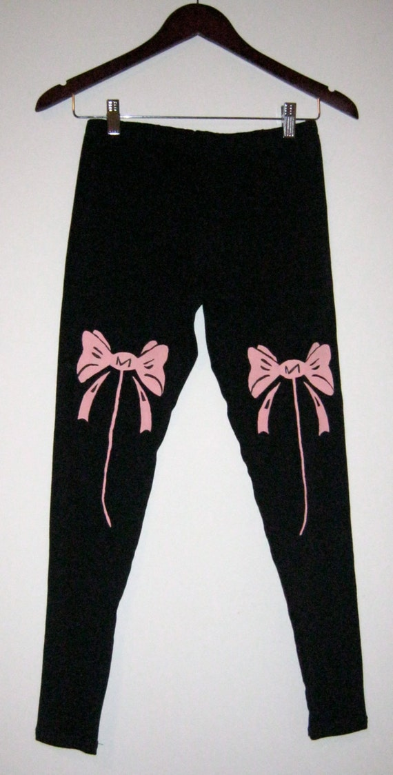 Black leggings for women, MADE TO ORDER,  black cotton leggings, pink bow prints, black tights, yoga pants, printed leggings, gifts for her