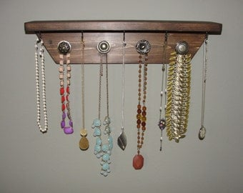 Wooden Shabby Chic Wall-Mount Jewelry Holder with Knobs