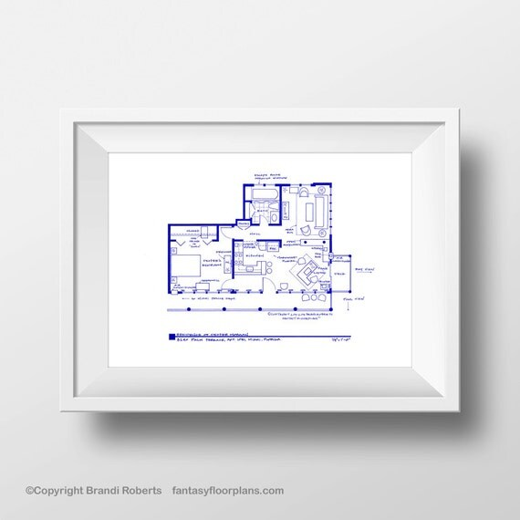 Dexter apartment art poster tv show floor plan by tvfloorplans for 8240 palm terrace miami