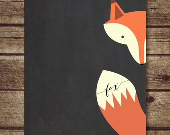 Fox Art Printable -  Nursery Decor, fox nursery printable, chalkboard printable fox print, nursery decoration,fox art print-INSTANT DOWNLOAD