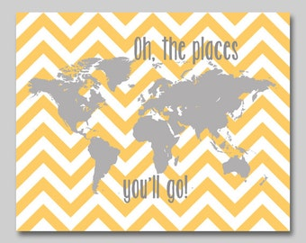 18x24 print, Oh the places you'll go - orange grey nursery map, world map print childrens art, chevron decor  - INSTANT DOWNLOAD