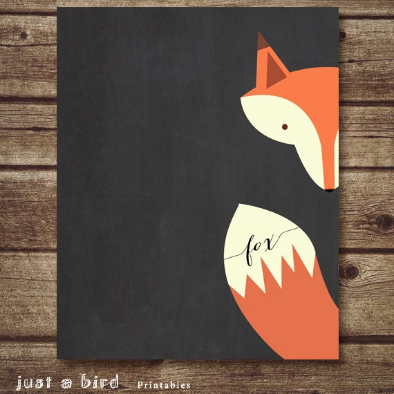 Fox Art Printable Nursery Decor Fox Nursery Printable