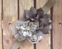 Silver headband, grey headband, flower headband, bouquet headband, pageant headband, halo, flower girl headband, wedding headband, baby