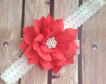 Coral headband, orange headband, flower headband, floral headband, baby bow, Infant headband, flower girl headband,