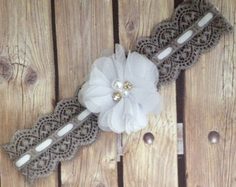 Grey headband, vintage headband, lace headband. Grey and white headband, flower girl headband, flower girl, baby girl headband, halo